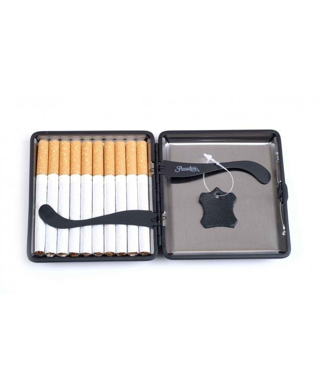 Портсигар Passatore на 20 сигарет, натуральная кожа, Черный