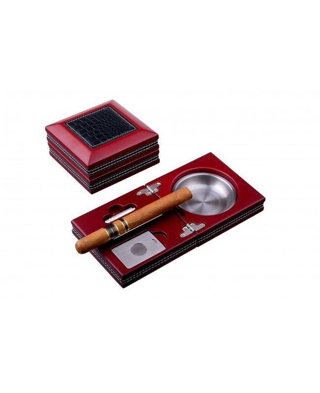 Пепельница сигарная Tom River с набором, Бордо