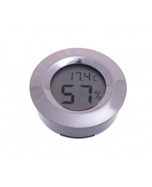 Термо-Гигрометр цифровой круглый, серебро