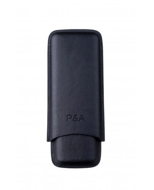 Чехол P&A на 2 сигары Cohiba Behike 56 (диаметром до 24 мм), кожа, черный